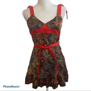 BILLTORNADE 100% Silk Tunic Ruffled Halter Dress